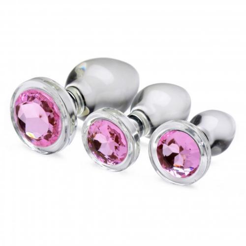 Pink Gem Anaalplug Set Van Glas #1