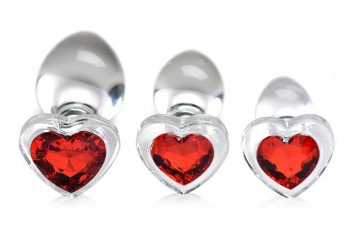 Red Heart Gem Anaalplug Set Van Glas #5