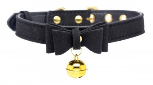 Golden Kitty Collar Met Kattenbelletje - Zwart/Goud #1