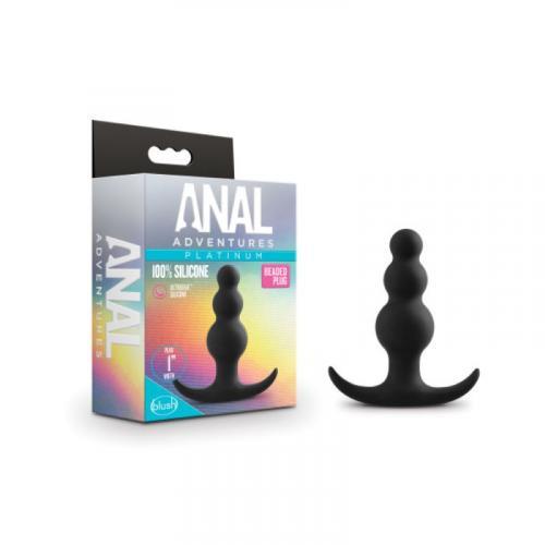 Anal Adventures Platinum - Beaded Anaal Plug - Zwart #5