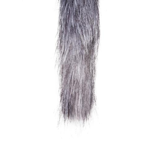 Grote zilverkleurige buttplug met grijze vossenstaart #7