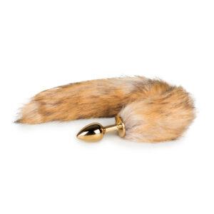 Kleine goudkleurige buttplug met vossenstaart #1