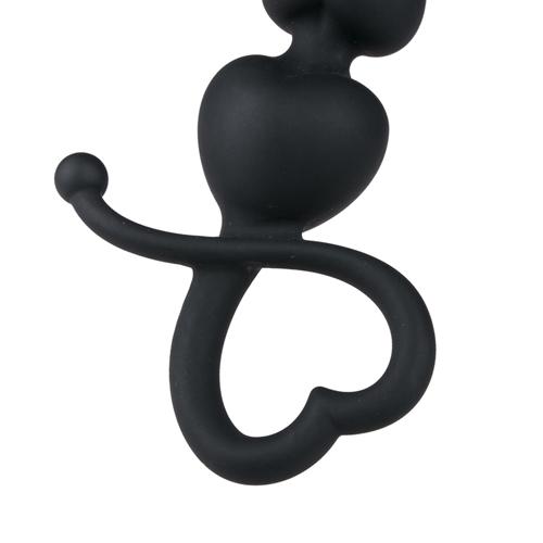 Zwarte anaal kralen met hartvormige greep #9